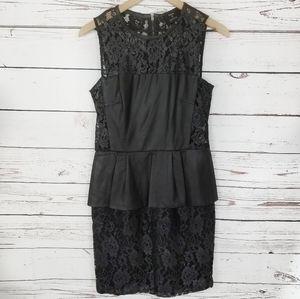 Sea NY | Leather and Lace Peplum Sheath Dress